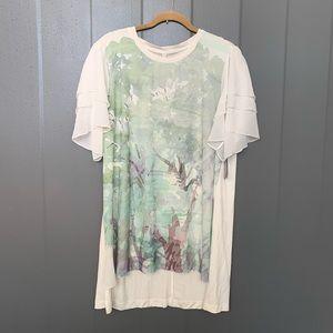 Melissa Mccarthy Seven7 White/Green Blouse 1X